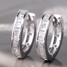 STYLE STERLING SILVER PLATED CZ SMALL ROUND HUGGIE HOOP EARRINGS HF