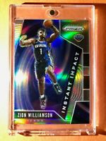 Zion Williamson SILVER REFRACTOR ROOKIE PANINI PRIZM INSTANT IMPACT RC #2 Mint!