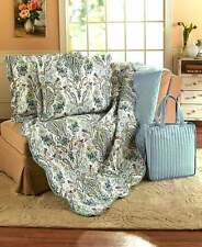 4-Pc Blue Paisley King Size Quilt Set 2 Pillow Shams & Tote Bag Bedroom Decor