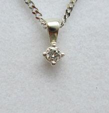 """New .08ct Diamond Solitaire 9ct White Gold Pendant & 18"""" Chain £79.99"""