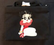 Beaded Betty Boop Black Canvas Handbag Purse