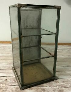 Antique General Store Display Cabinet Display Case with Glass Metal Wood