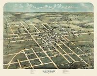 MAP ANTIQUE 1873 KOCH BRENHAM TEXAS CITY PLAN LARGE REPLICA POSTER PRINT PAM1924