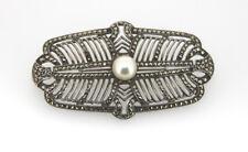 Imposante Brosche um 1920/30 Silber Markasit Perle