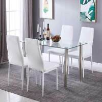5 Piece Modern Glass Dining Table and High Back Leather Chairs Dining Room White