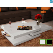 Table Basse haute brillance 3 Etagères Table d'Appoint Salon Canapé Maison