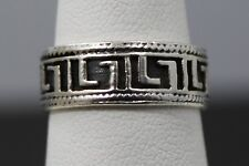 Sterling Silver Greek Key Style Band Ring