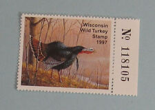 1997 Wisconsin DNR Wild Turkey Hunting License Stamp...Free Shipping!