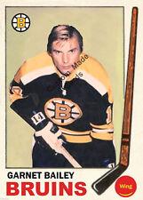 Custom made Topps 1969-70 Boston Bruins Garnet Bailey hockey card