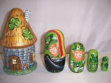 St. Patrick's Leprechauns Hand Painted stacking nesting doll set
