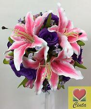Artificial silk flower purple rose flowers  pink lily/tulips wedding bouquet.