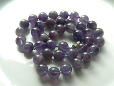 "Amethyst Natural Round 10.4 mm Bead 18"" Purple Violet Vintage Handknot Necklace"