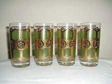 4 Vintage Mid Century HighBall Green Tumber Glasses  22K Gold  Signed WASHINGTON