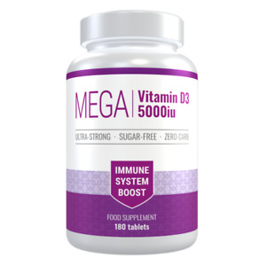 Vitamin D3 5000iu, 6 Months Supply, 180 Tablets. Immune System Boost. Sugar-Free