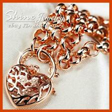 18K ROSE GOLD GF BR12 BELCHER HEART PADLOCK RING LINK CHARM SOLID BRACELET GIFT