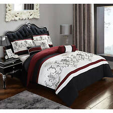 7 Piece Bedding Comforter Set Black Red Full Size Reversible Bed Set