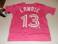 2013 Toronto Blue Jays Brett Lawrie Age 4 Small Girls Child Pink T Shirt Kids
