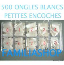 500 FAUX ONGLES BLANC CAPSULES MANUCURE A PETITE ENCOCHE CUT OUT + BOITE