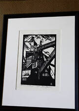 1930 Edison Coal Storage a linocut by Mark Freeman