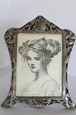 ANTIQUE ART NOUVEAU PHOTO FRAME OPEN WORK LARGE FRAME SILVERPLATE BEVELED GLASS