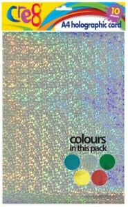 Cre8 A4 Holographic Card 10 Sheets Per Pack Crafting Scrapbooking Craft Art Card