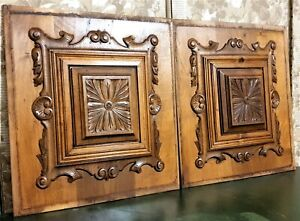 Pair Scroll rosette flower carving panel Antique french architectural salvage