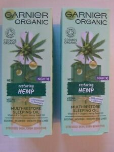 **2 X Garnier Organic Hemp Multi-Restore Facial Night Sleeping Oil 30 ml-new**