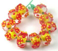 14x9mm Lampwork Handmade Glass Rondelle Beads - Sienna Melon (10)