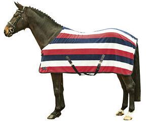 Abschwitzdecke HKM Fleecedecke Pferdedecke Fashion Stripes Kreuzgurt 115-165 cm