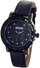 JOJINO JOE RODEO LADIES 2.00CT DIAMOND WATCH BLACK CASE LEATHER BAND + 2 STRAPS