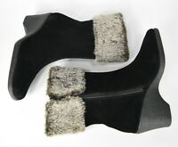 Aerosoles Size 9.5 Black Suede Fur Booties Winter Side Zip Wedge Boots
