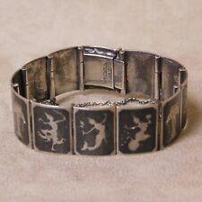 Flight Tracker Siam Sterling Silver 925 White Enamel Niello Mekkala Lightening Goddess Bracelet Jewelry & Watches