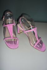 NEW ISAAC MIZRAHI  PINK  SUEDE LEATHER SLING BACKS STOCKED HEEL WOMEN'S SANDALS