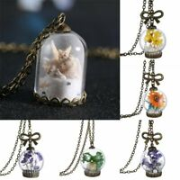 Women Nature Real Dried Flower Leaf Glass Bottle Pendant Necklaces Chain Gifts