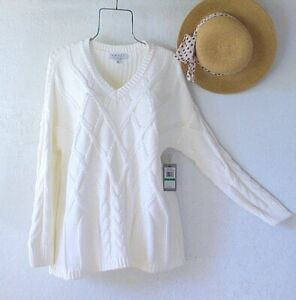 New~$99~Ivory White Cotton Cable Knit Pullover Spring Sweater V-Neck Top~Size XL
