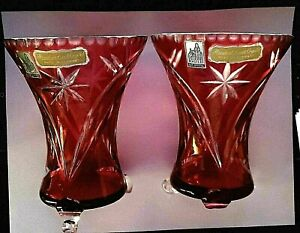 Castle Handcut Lead Crystal Footed Vases Ruby Cut to Clear Germany US Zone
