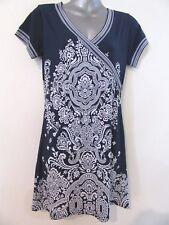 AJOY Moroccan Print Navy Blue White Stretch Persian Mini Dress BNWT 10