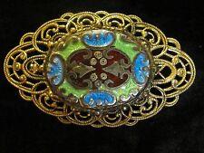 Gorgeous Vintage Filigree & Cloisonne Brooch Pin Blue Green Burgundy Gold tone