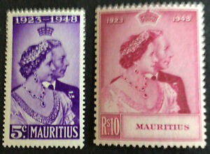 George VI Mauritius 1948 Royal Silver Wedding MNH Unmounted Mint SG270/1