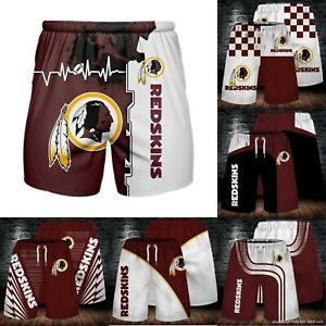 Washington Redskins Men's Summer Beach Shorts Workout Fitness Casual Short Pants