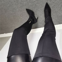 Fashion Women Thigh High Boots Elastic Black Over Knee Boots Shoes Woman