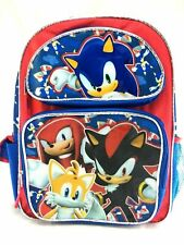 16'' Sonic The Hedgehog Boy Large School Book Backpack Licensed Side Pocket~New