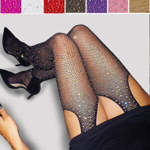 Women's Glitter Fishnet Tights Open Crotch Mesh Pantyhose Ladies Tight Stocking#