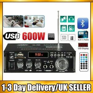 600W bluetooth Stereo Audio Amplifier Car Home HiFi Music SD USB FM AMP 12V/220V