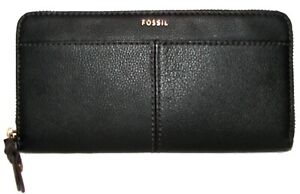 FOSSIL Mila Black Leather Zip-Around Clutch  Wallet NWT
