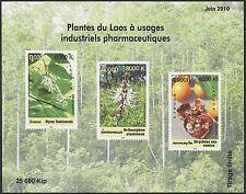 LAOS Bloc N°187**, Fleurs, plantes médicinales, 2010, Medicinal Plants Sheet MNH