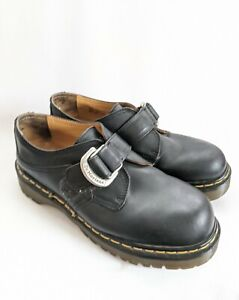 Dr Martens Vintage Single Strap W Buckle Shoes Chunky England Black Leather