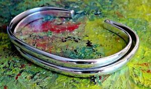 Fabulous vintage studio solid sterling silver open cuff bangle bracelet. 22.57g