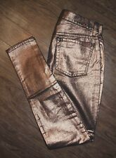 7 for All Mankind Size 27 Women's Bronze Shimmer Skinny Pants