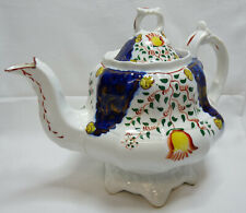 More details for antique victorian gaudy welsh swansea cottage tulip pattern teapot, good order